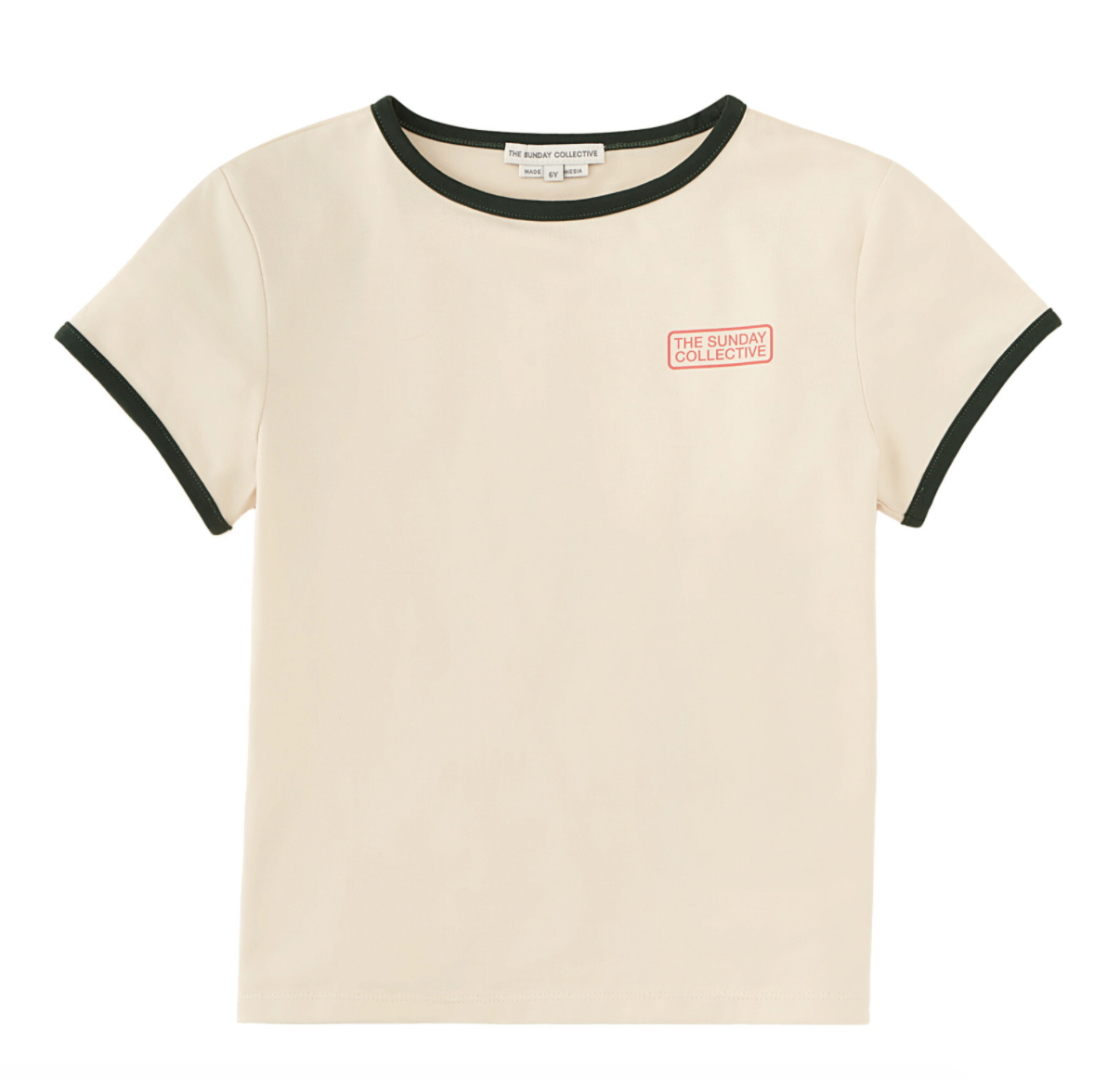 """Cream colored unisex tshirt with black binding on the collar and sleeves and small red words in a rectangle reading """"the sunday collective."""""""