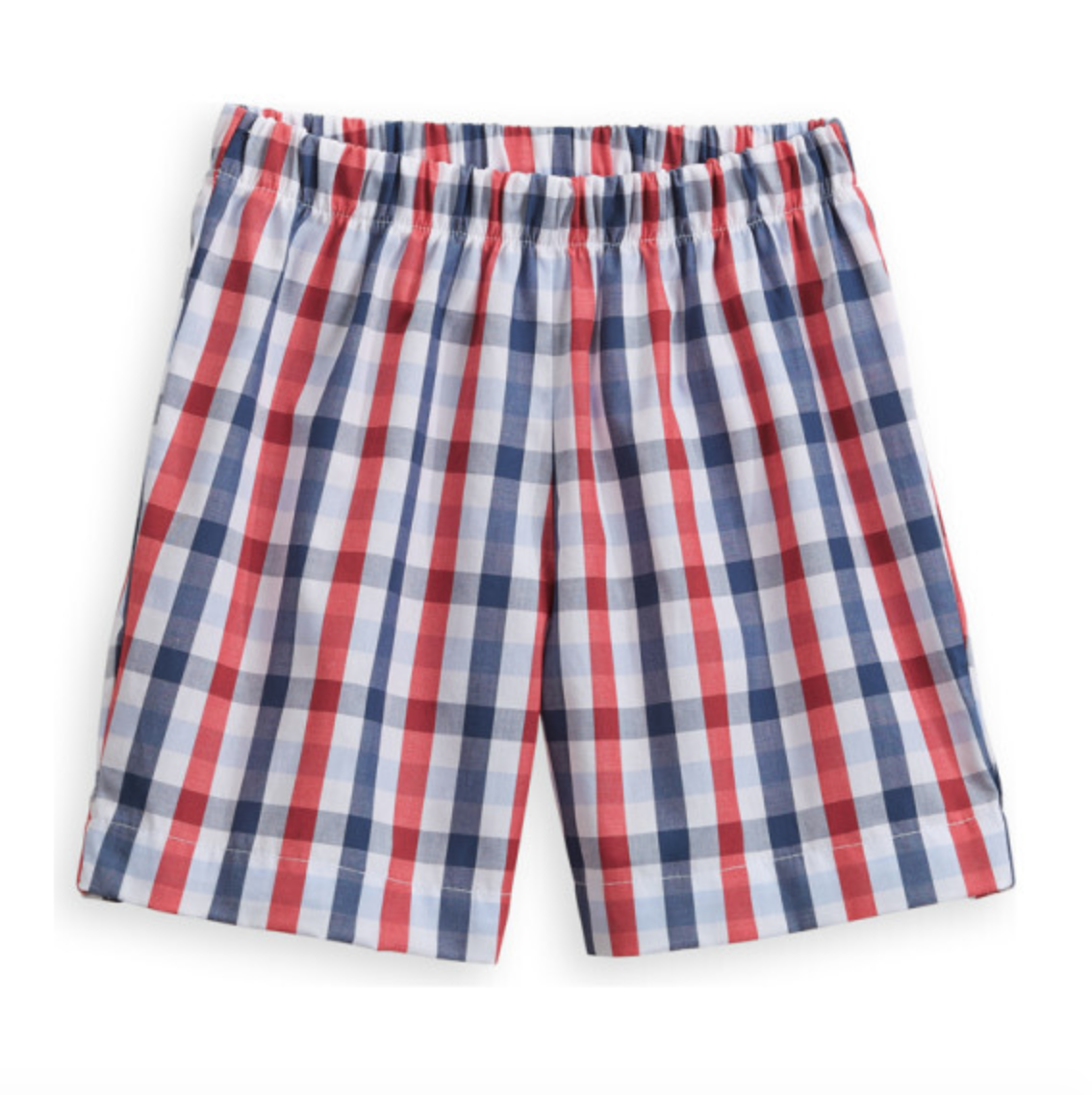 checked red and blue shorts