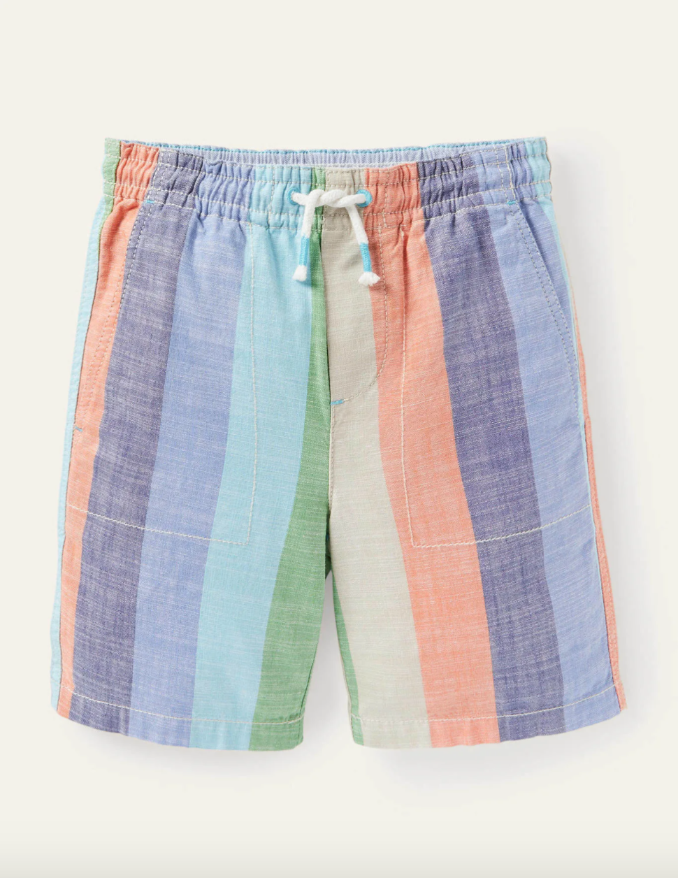 Drawstring striped shorts in purple, blue, orange, green, and yellow