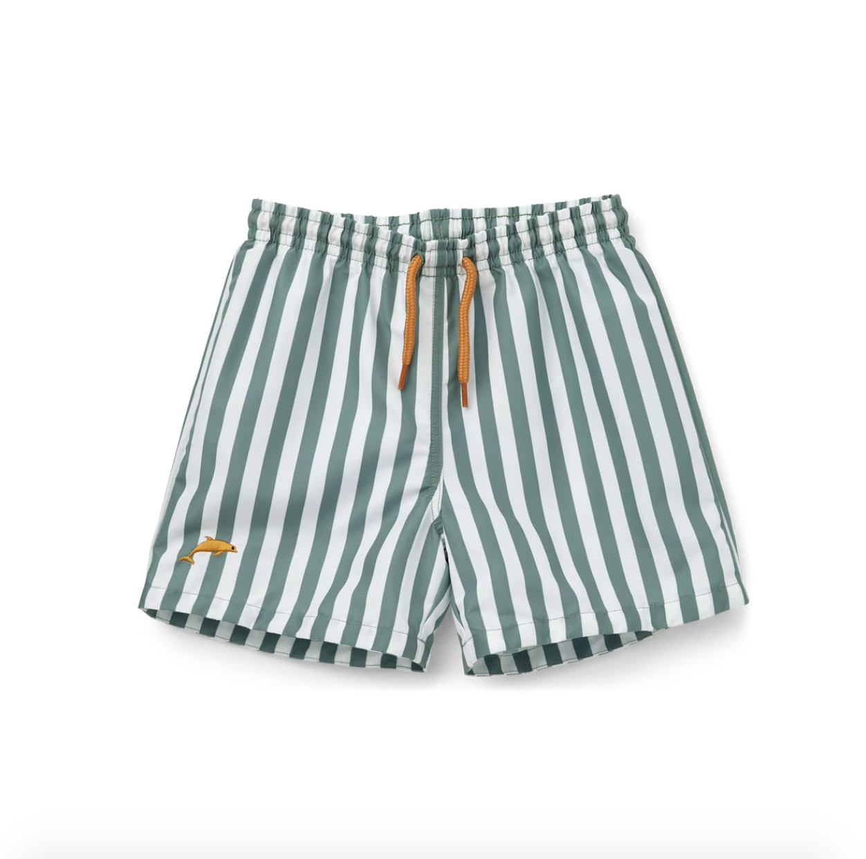 Green and white vertical striped boys swim trunks with a small embroidered dolphin in the corner of the leg