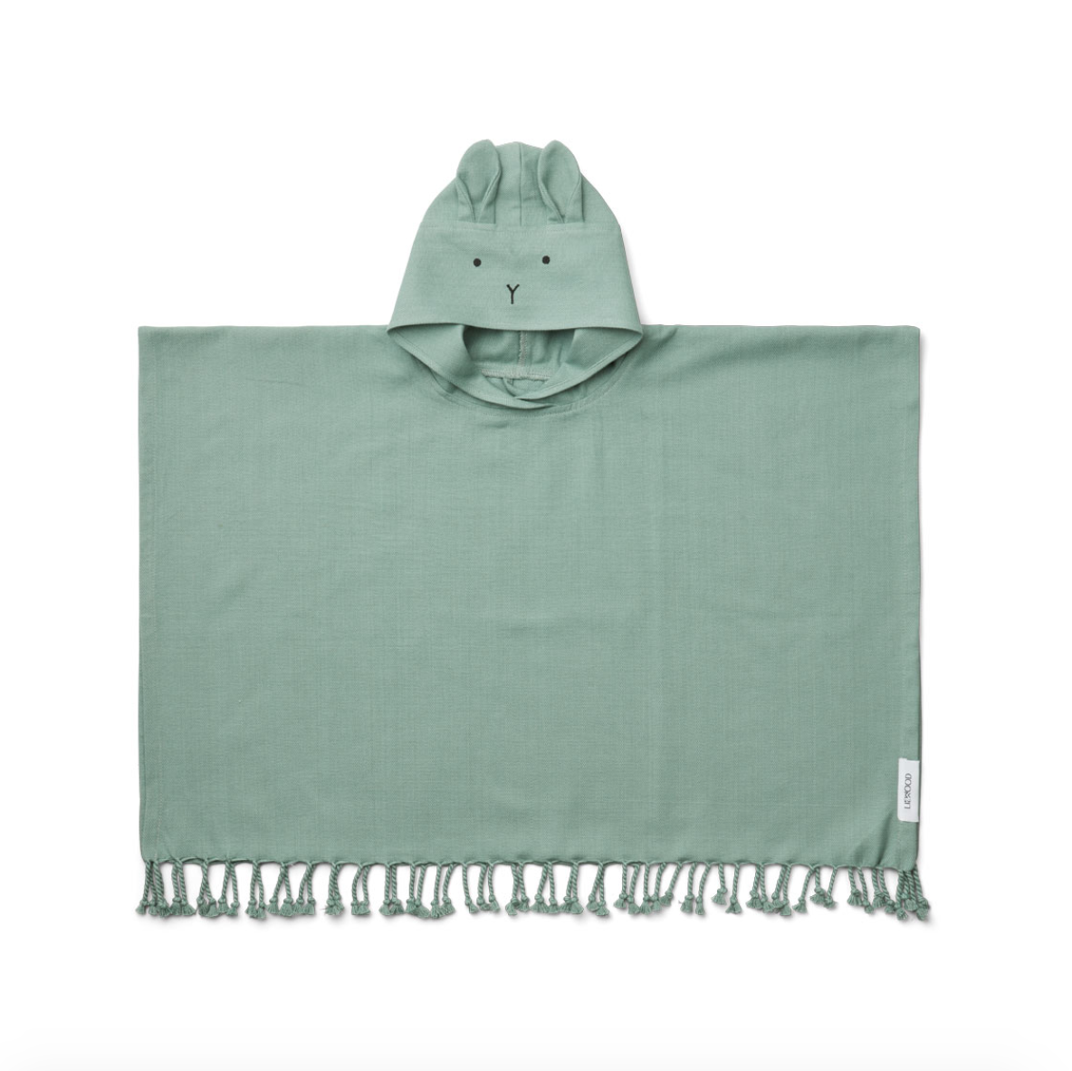 Sage green tassled beach poncho with a face and ears on the hood