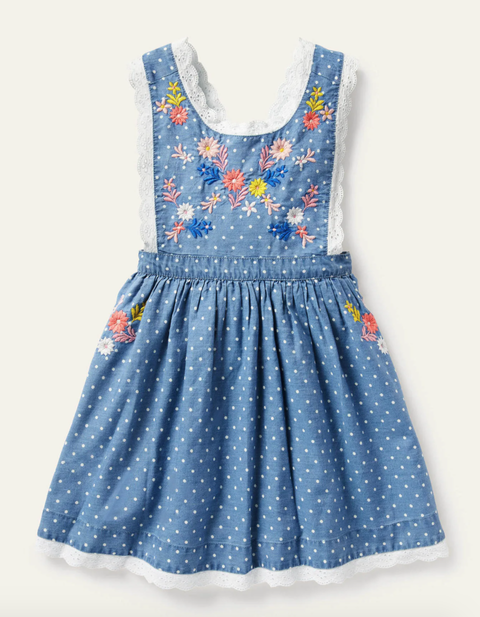 Blue swiss dot dress with colorful embroidered flowers