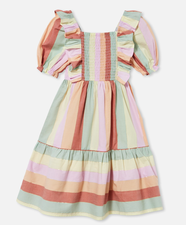 Sherbet-colored striped dress with ruffles