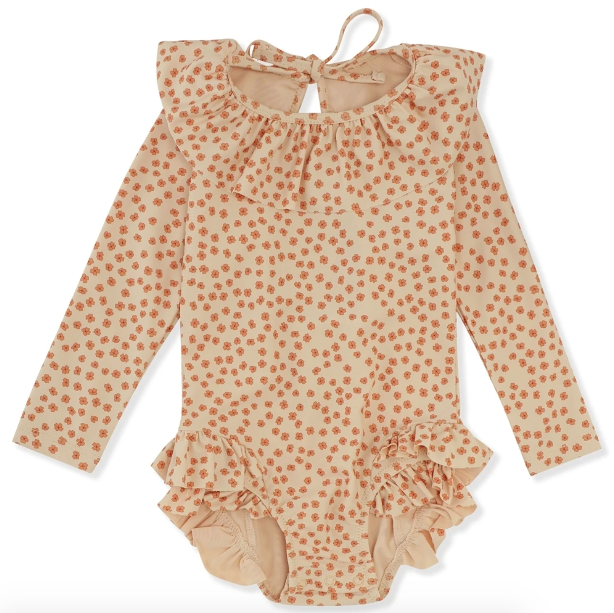 Buttercup flowers on a ruffled long-sleeved swimsuit