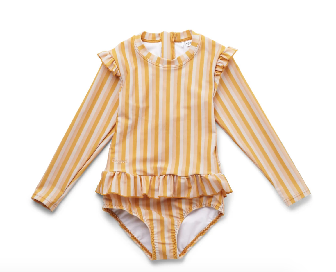 Striped and ruffled long-sleeve swimsuit in yellow.
