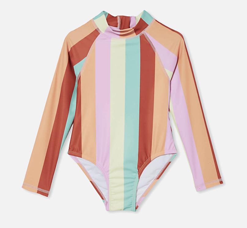 Sherbet-colored striped rashguard