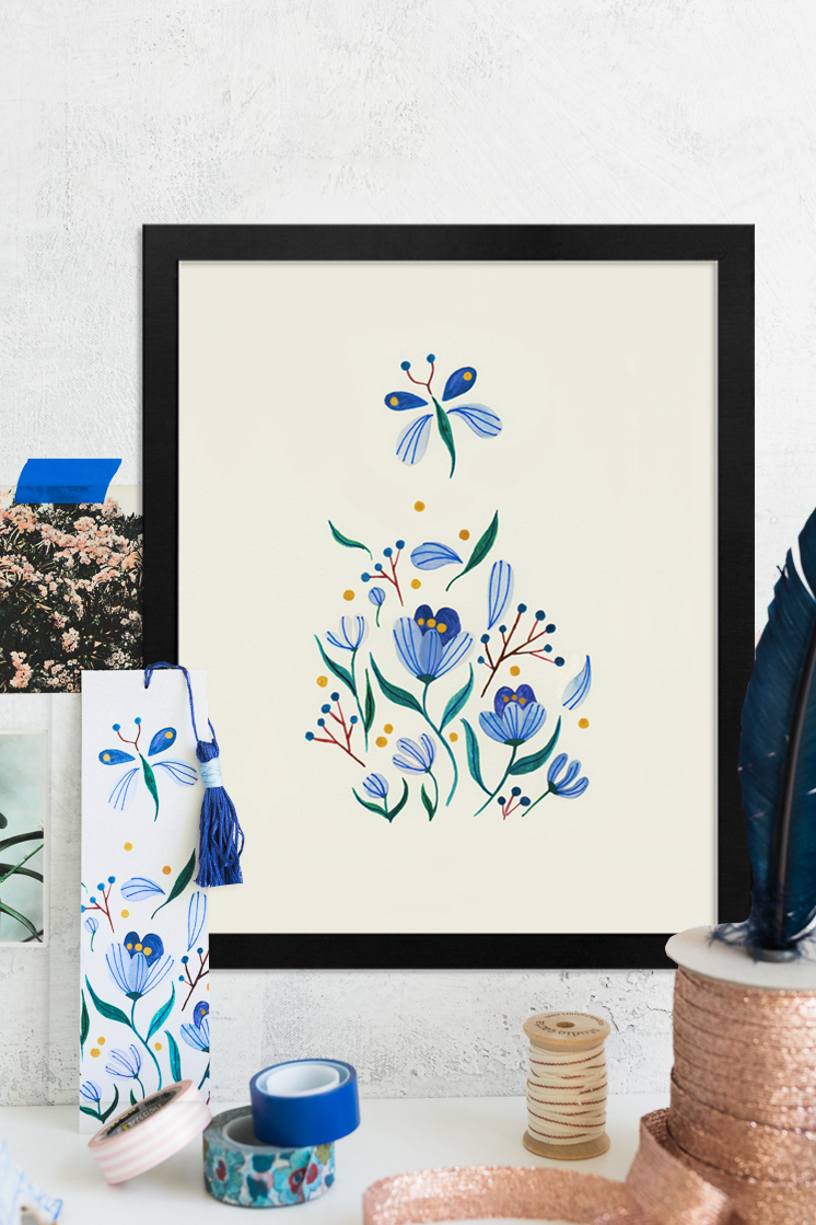 Art print of seven blue flowers by Yas Imamura in a tranquil, neutral space.