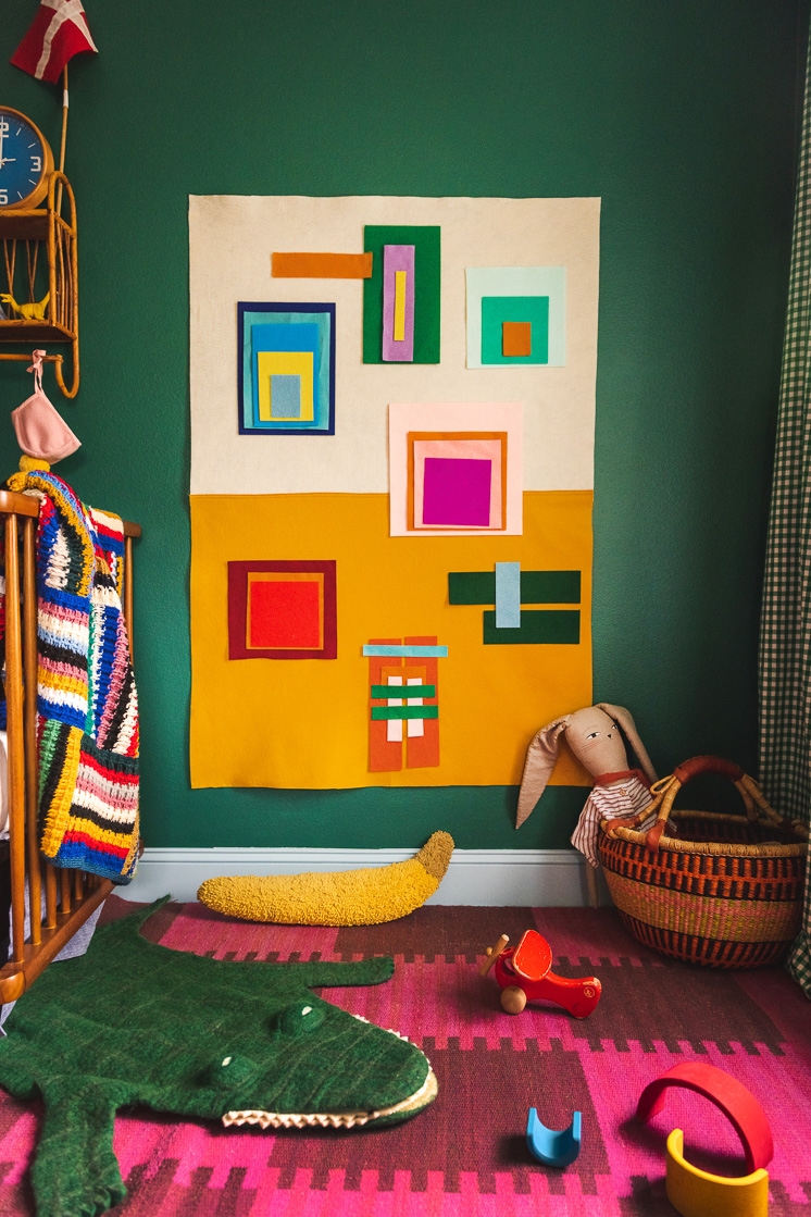 colorful felt board in a colorful room