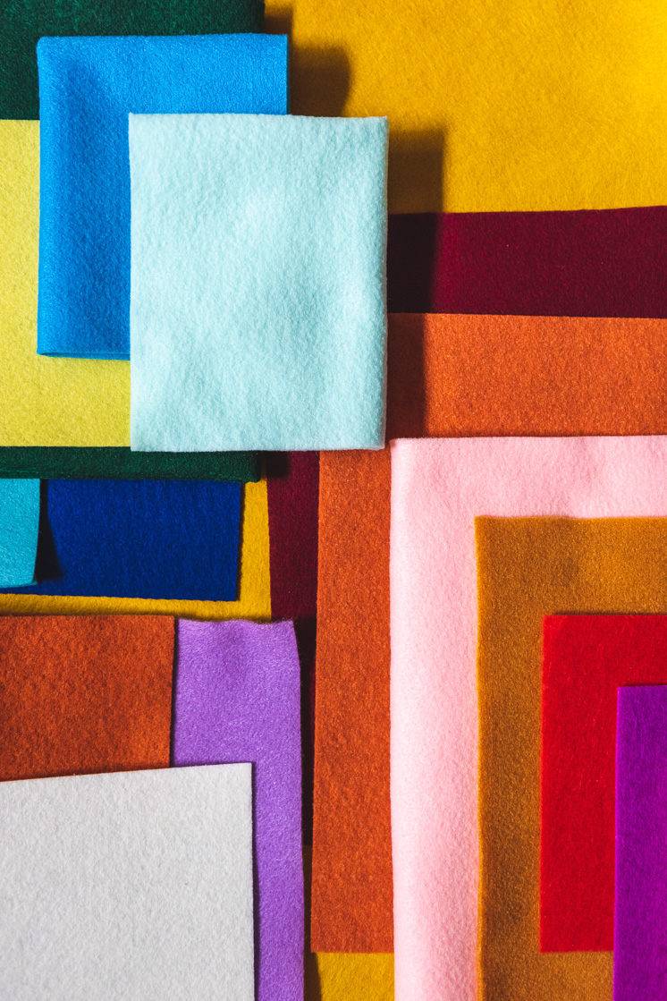 Overlapping colors of felt