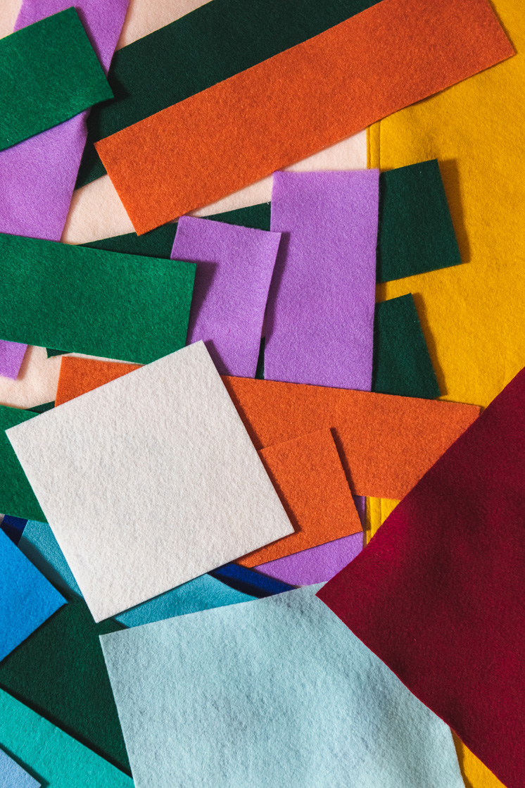 A pile of colored felt.