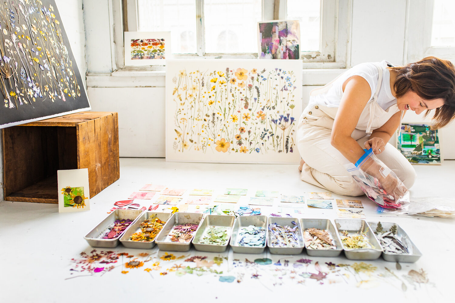 Tricia Paoluccio sits in front of pressed flowers in color coded trays in a light-filled room