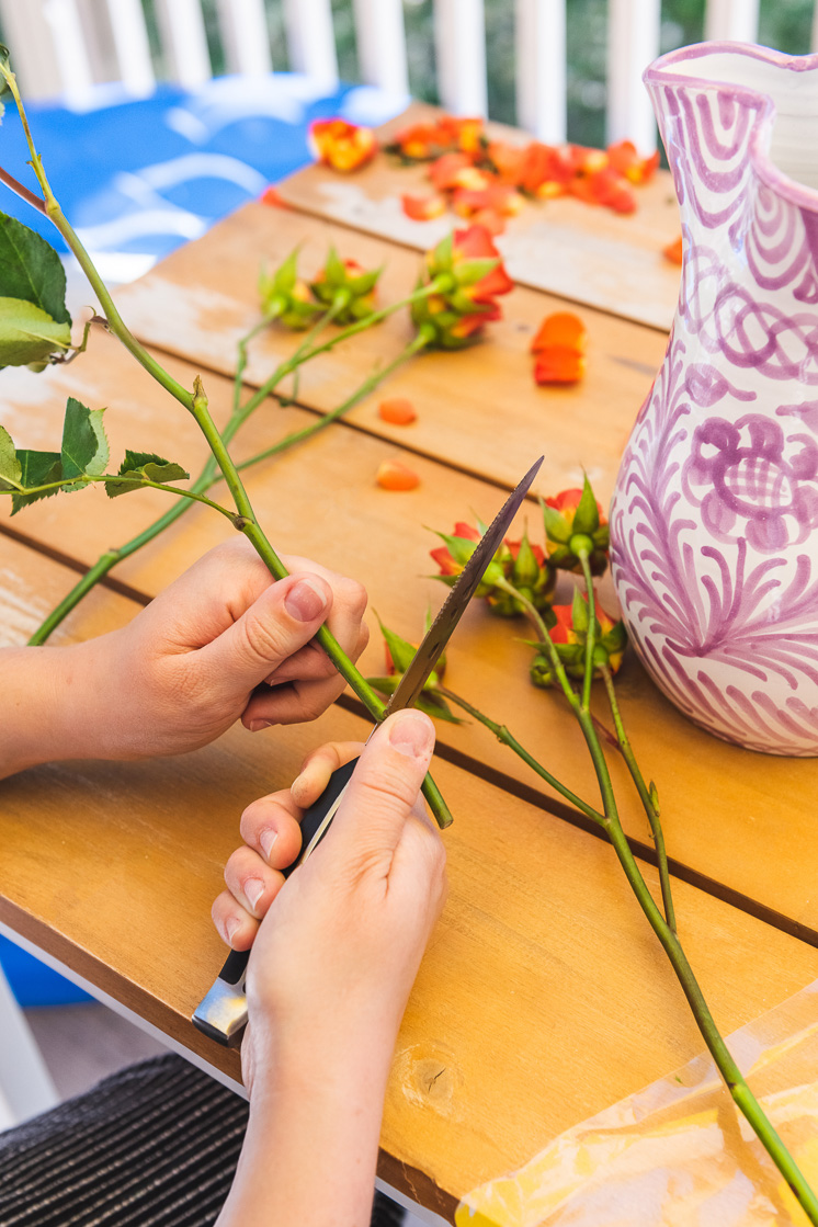 A person using a knife to trim the bottom of a stem next to some roses and a vase on a picnic table.