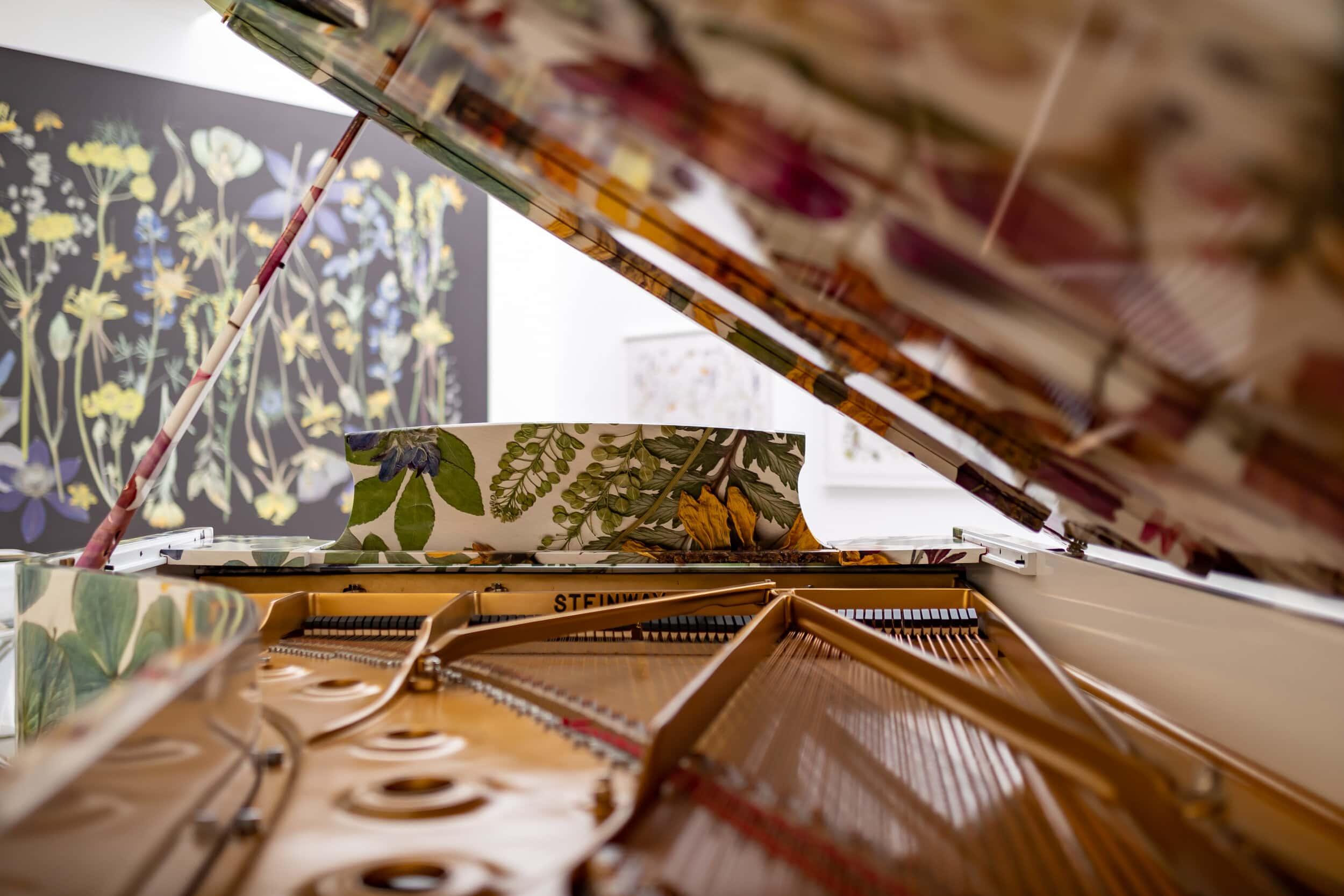 Inside of a botanically wrapped piano