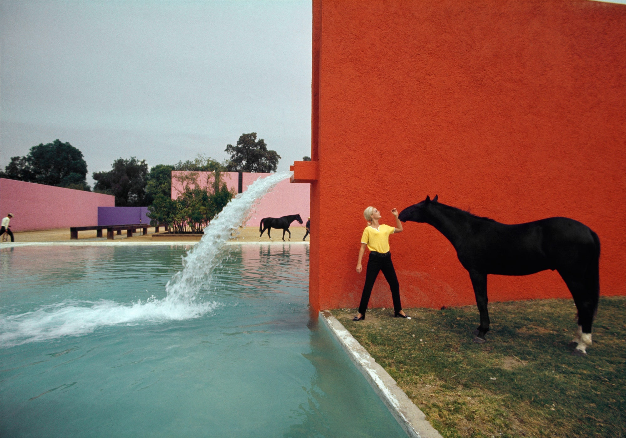 A woman holds a black horse's bridal in front of a tomato-colored wall at Luis Barragán's Cuadra San Cristóbal stables. There's also a flat blue pool and pink and purple structures in the background.