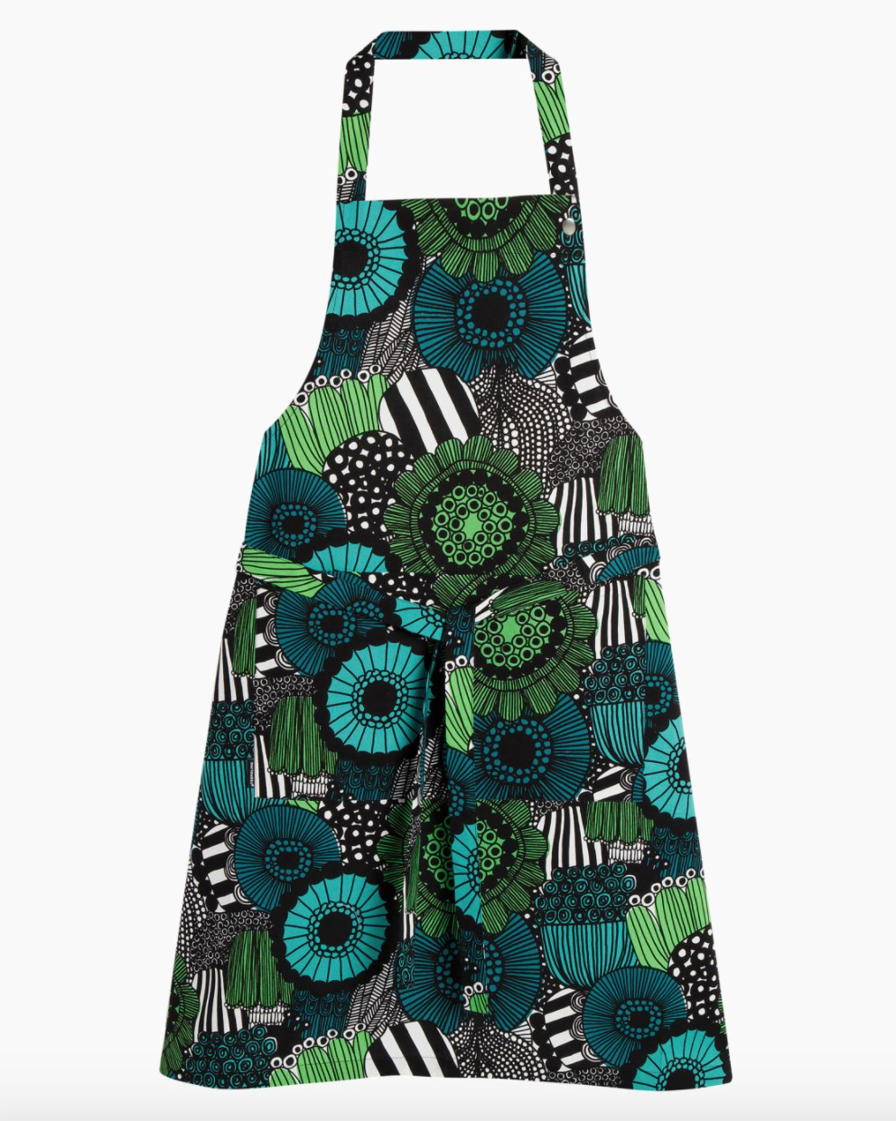 A graphic green and blue floral apron.