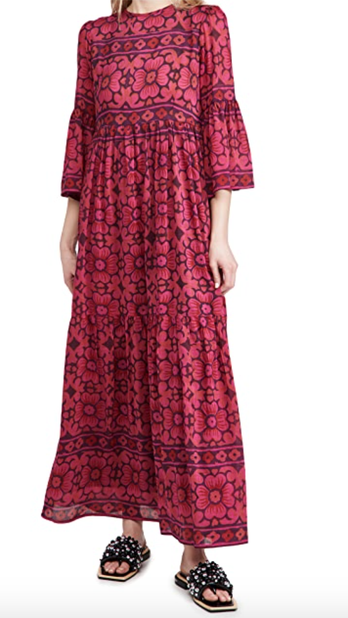 A red and pink patterned maxi dress