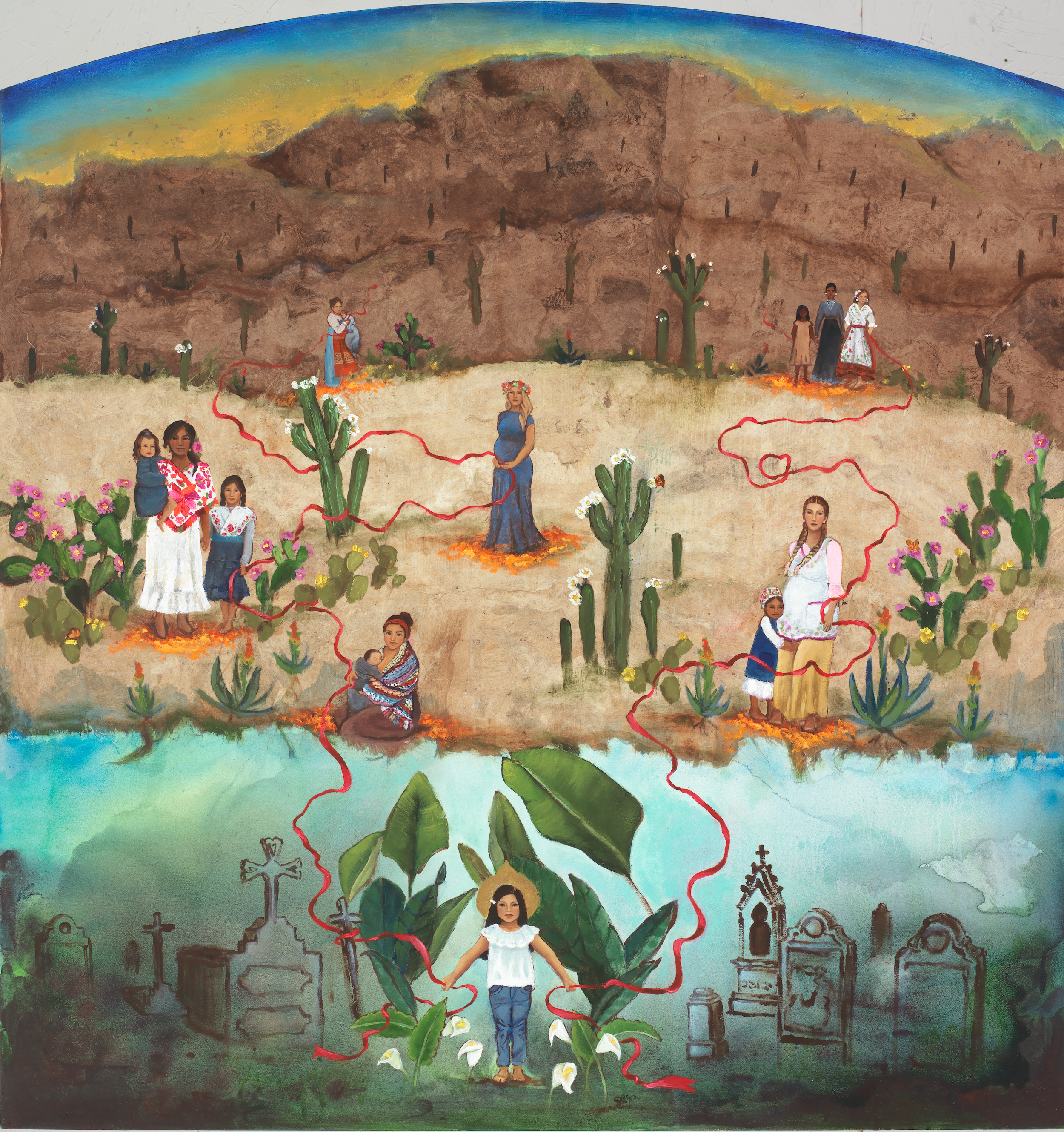 A painting of women in mountains, a desert, and a cemetery holding onto a red ribbon that connects them.