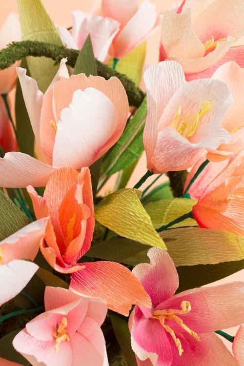 Paper tulips in an arrangement.