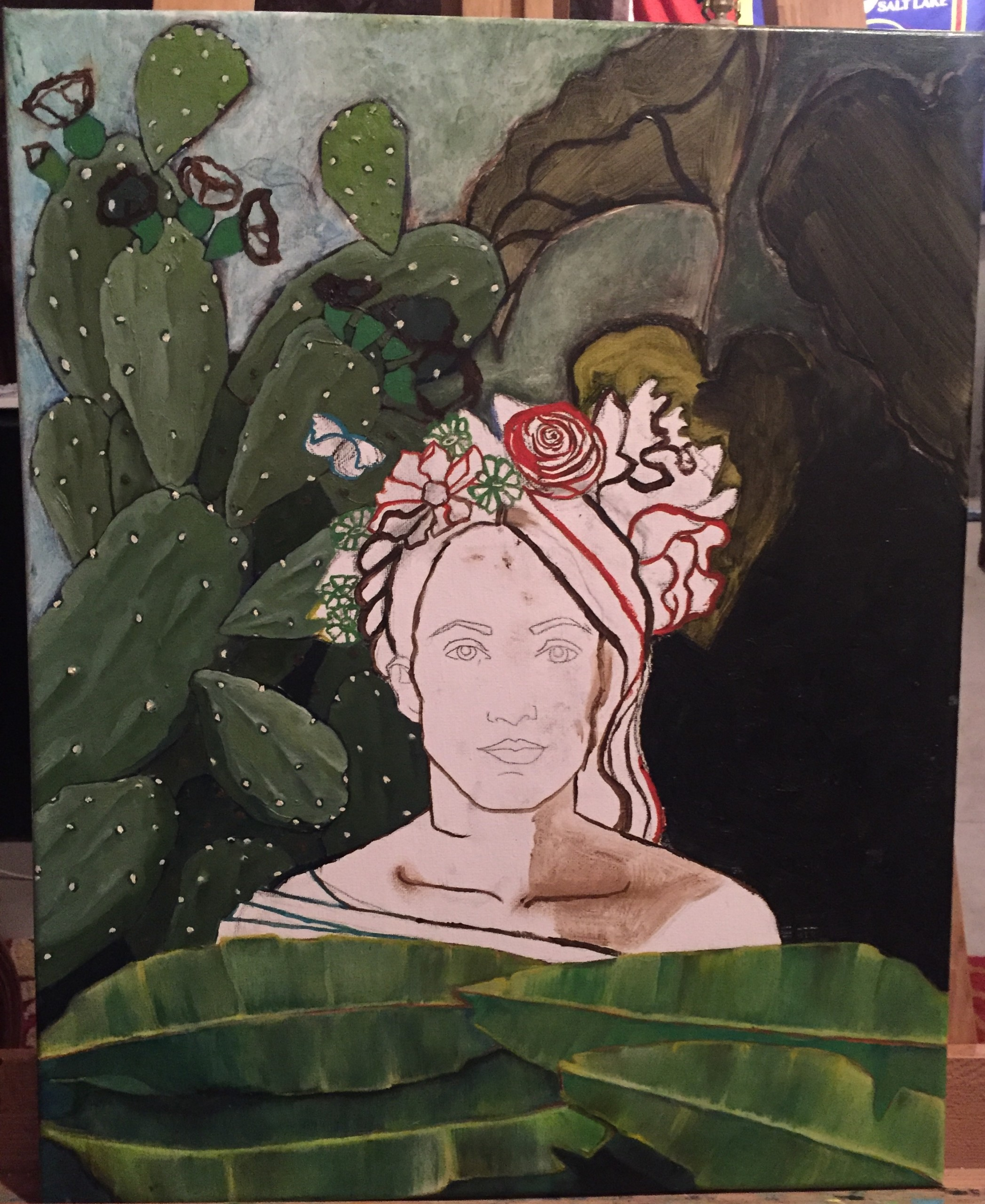 An unfinished painting of a woman against a plant background.