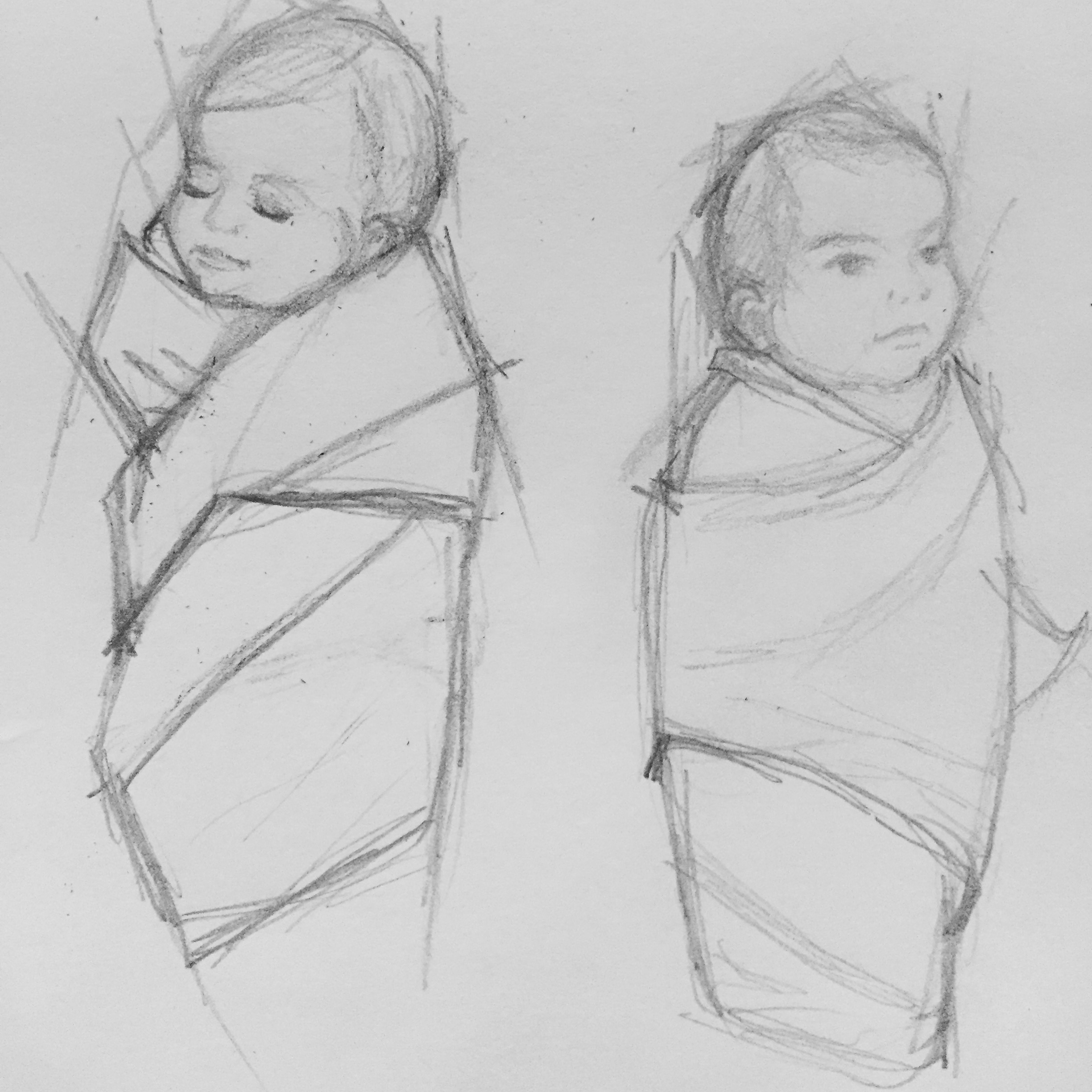 A sketch of babies swaddled in cloth.