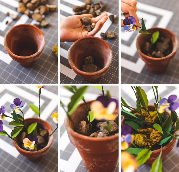 step-by-step instructional photos of putting the flowers in a pot.