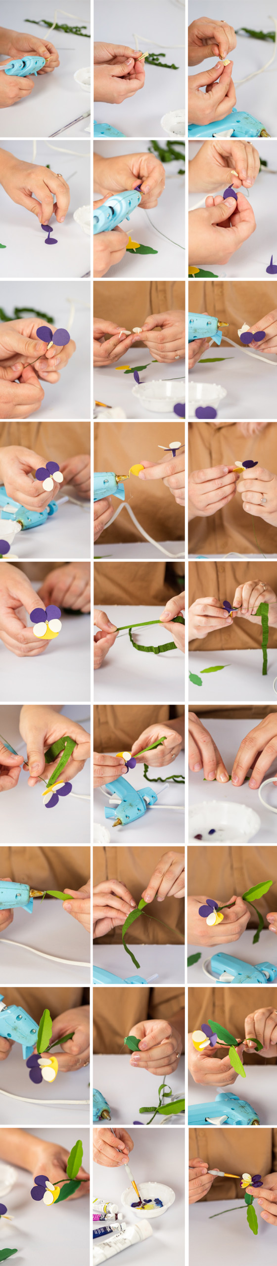 step by step instructional photos of the pansy making process.
