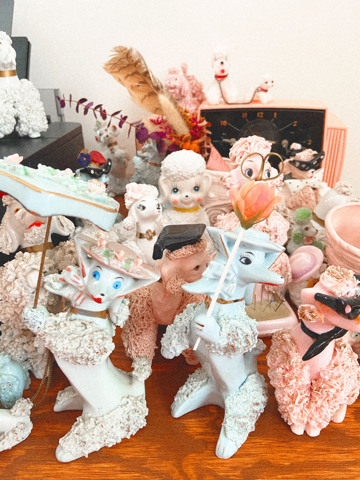 A collection of vintage poodles and other fun kitchery.