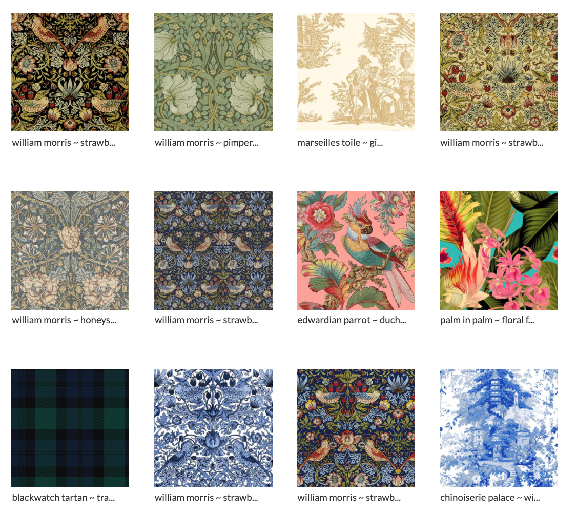 William Morris inspired designs.