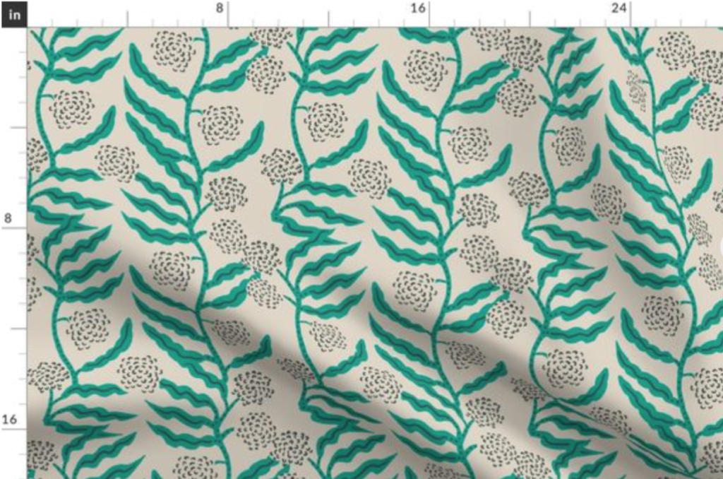 A sample image of Holly Zollinger's La Ville Vine Mint, which we used as our wallpaper in the office.