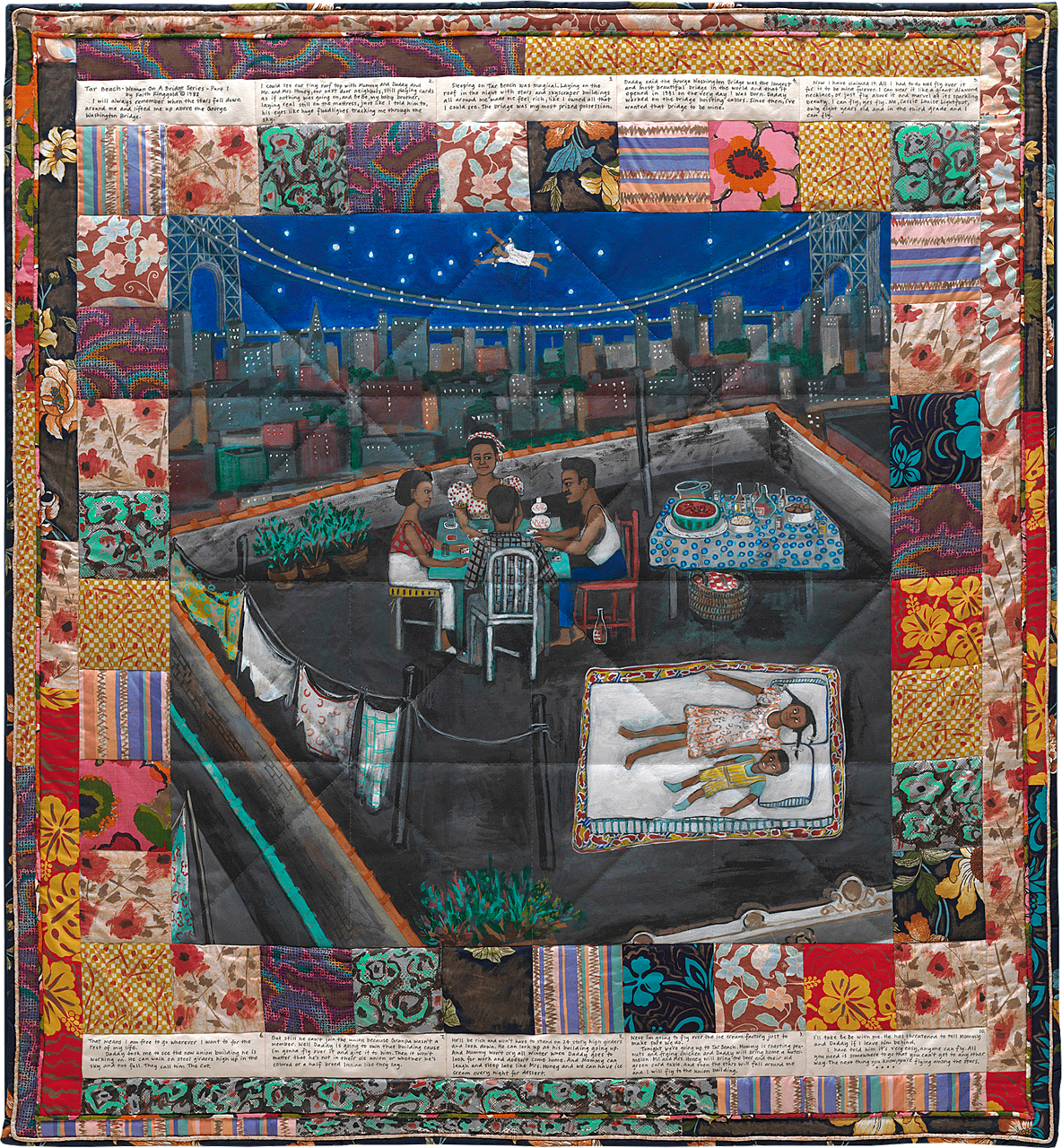 A quilted illustration from Tar Beach