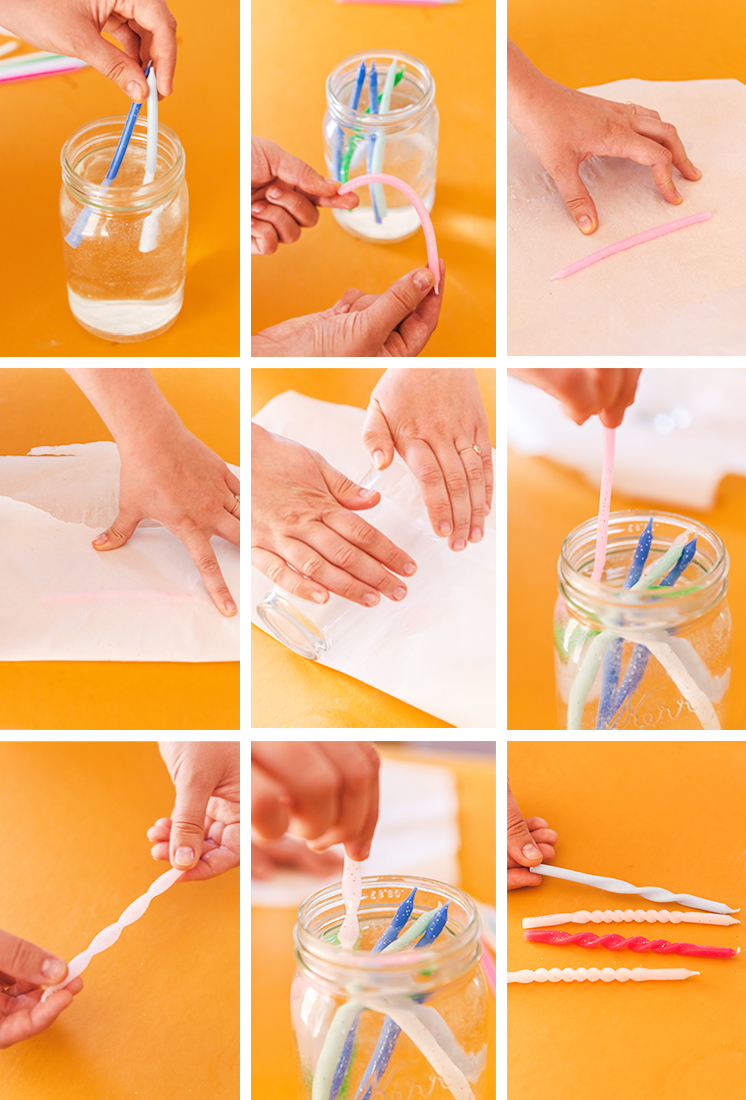 step by step instructional photos of twisting birthday candles