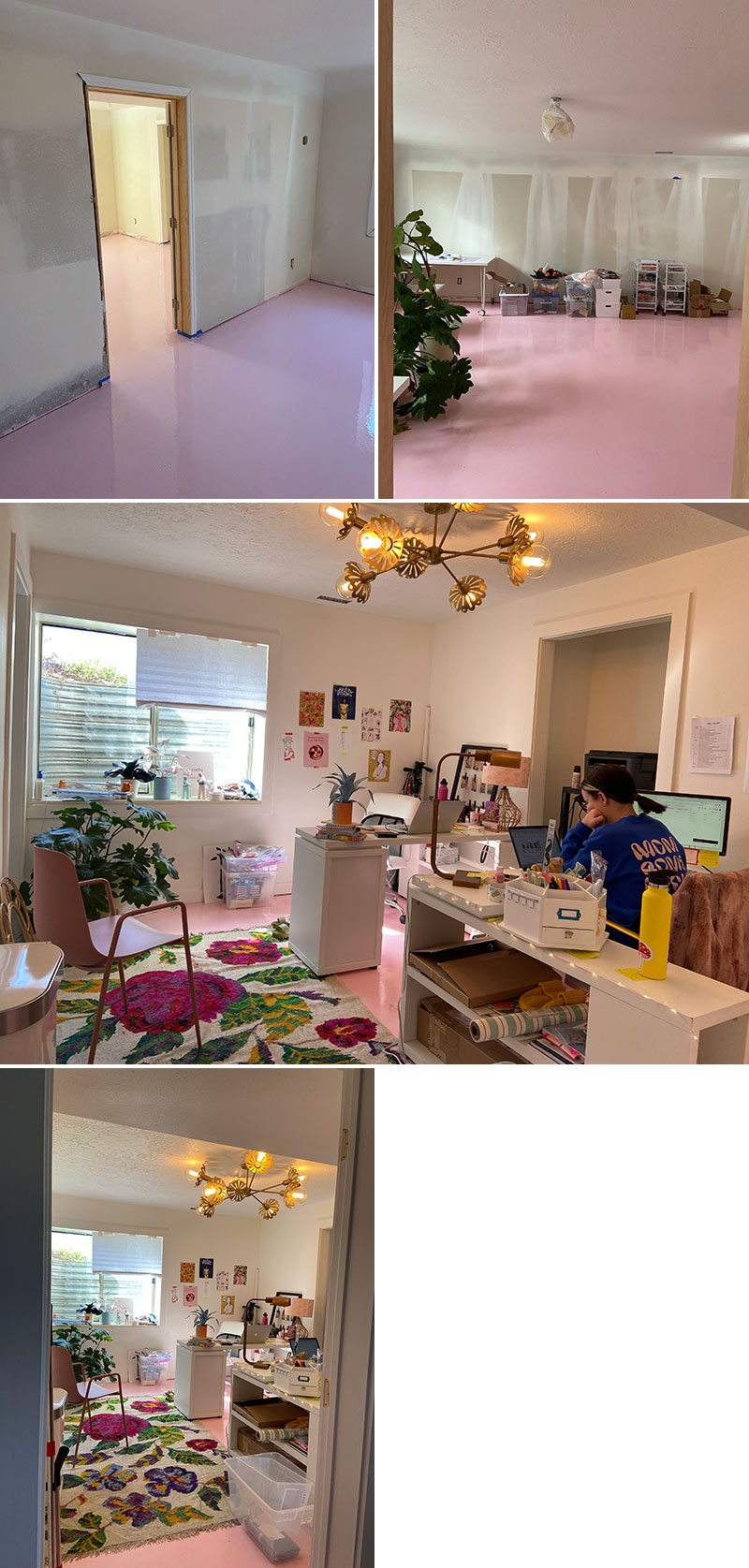 Shots of a basement space with pink floors and bare unfinished walls, then shots of the space with a plant, then with a rug, some simple furniture, and a brass light fixture. Some of the team is working in the background of the images.