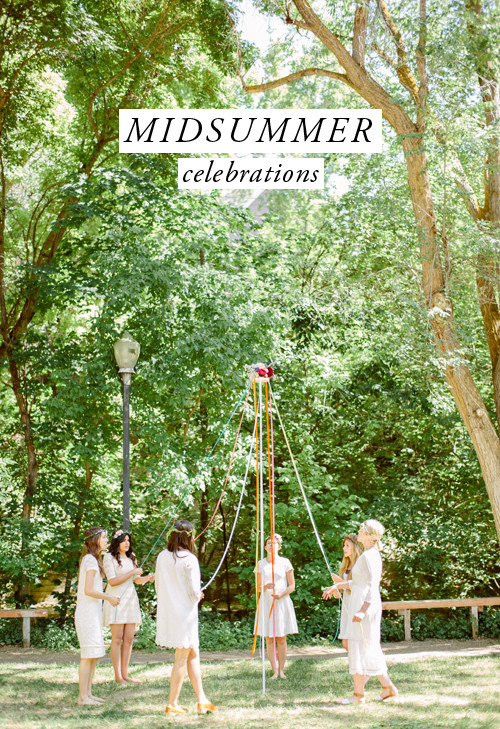 women dressed in white dance around a DIY maypole in a green park with dappled light. A graphic that says Midsummer celebration is at the top.