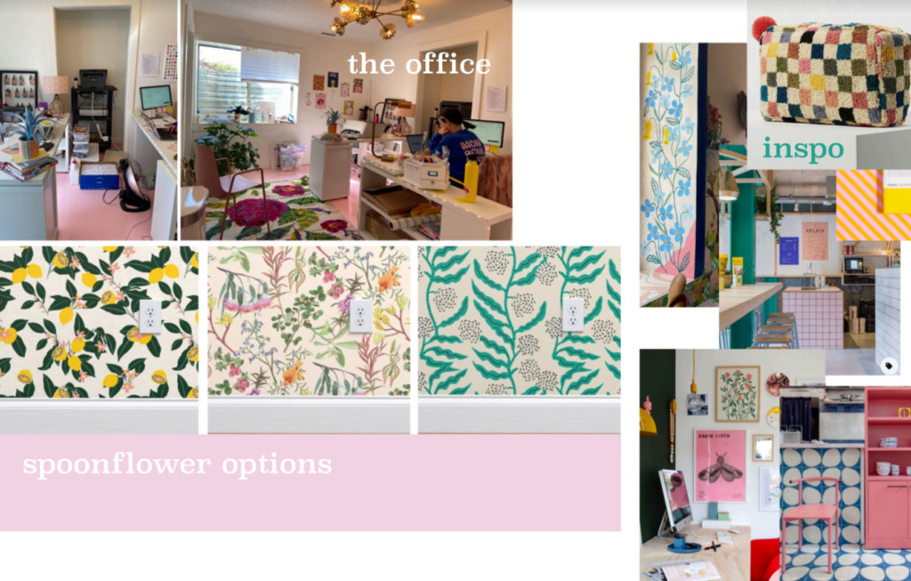 A mood board featuring the floor color, an image of the office, some wallpaper samples, and images of other eclectic, colorful rooms and office spaces.