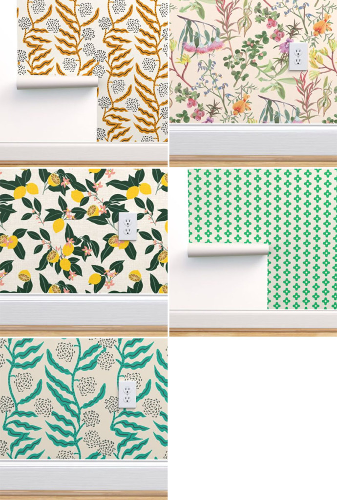 Five wallpaper samples in shades of green, gold, and yellow. There's an overall botanical theme.
