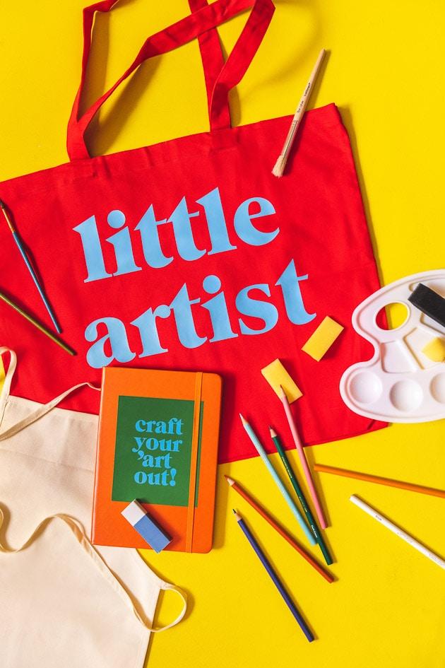 Little Lars art kit on a yellow background