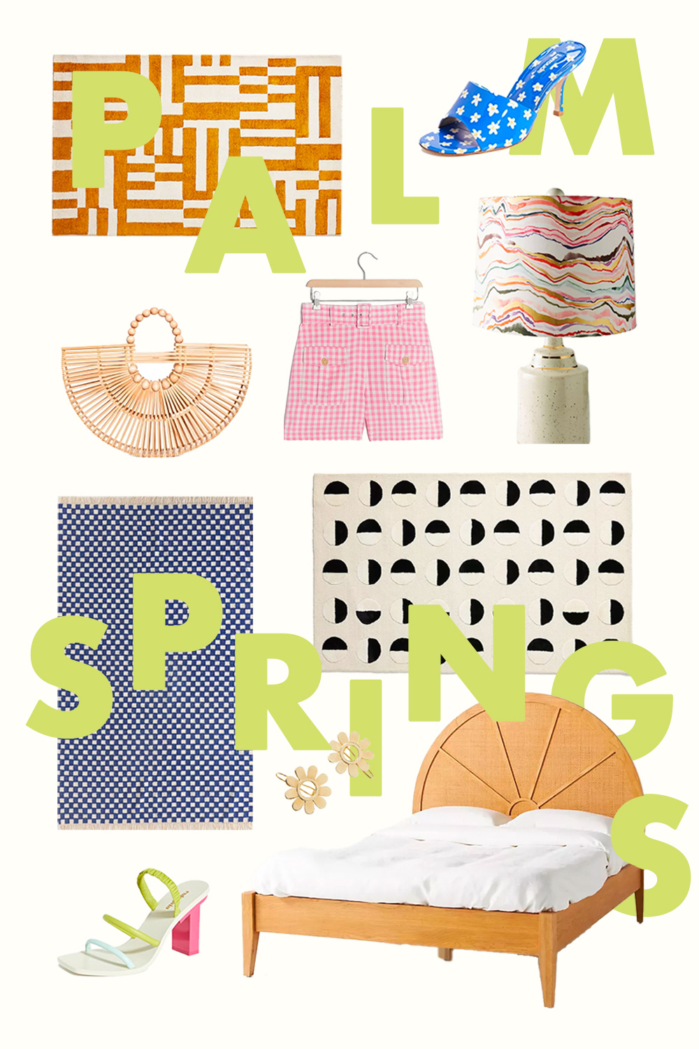 graphic of several items with a palm springs theme