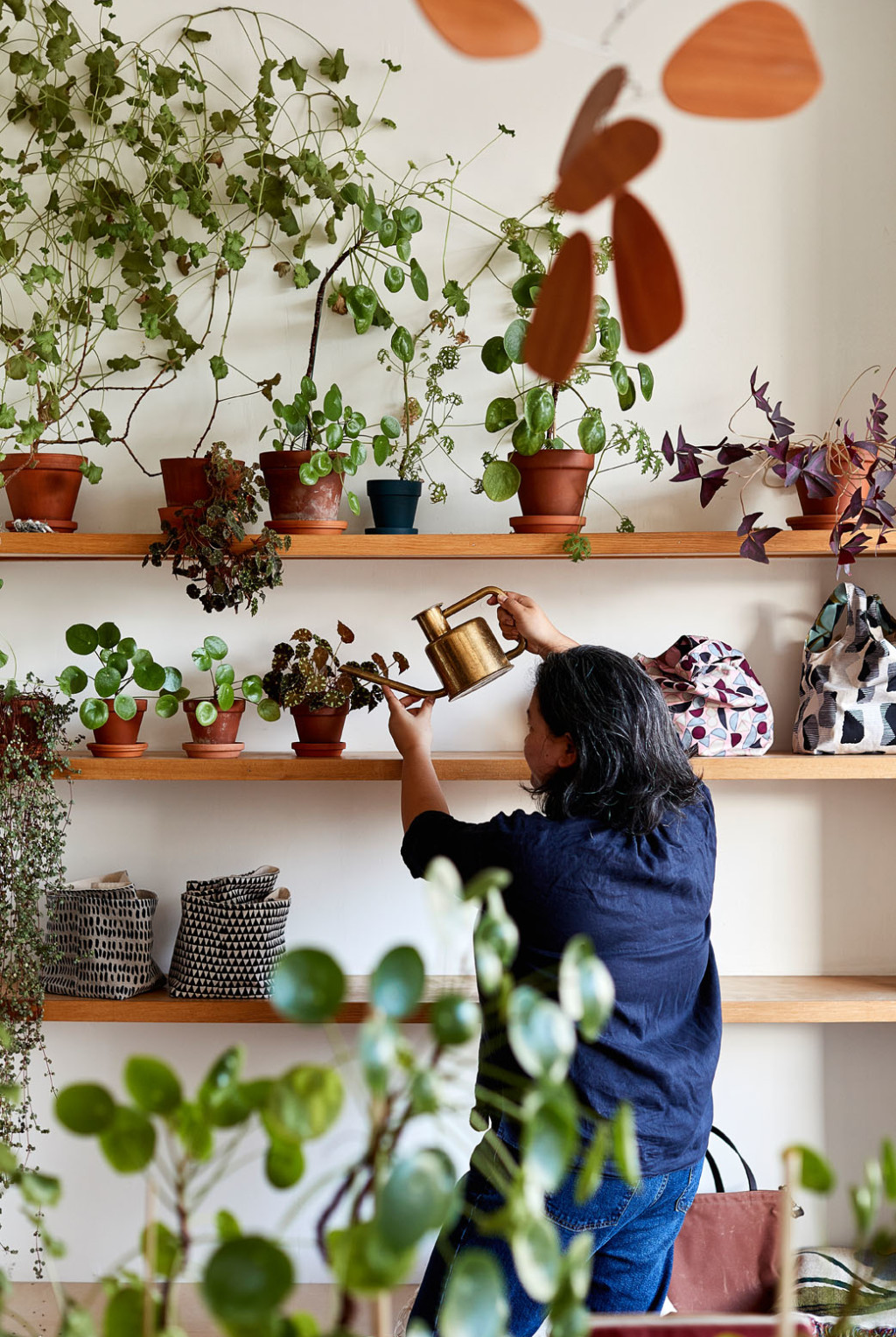 Arounna Khounnoraj watering indoor plants in a light-filled space