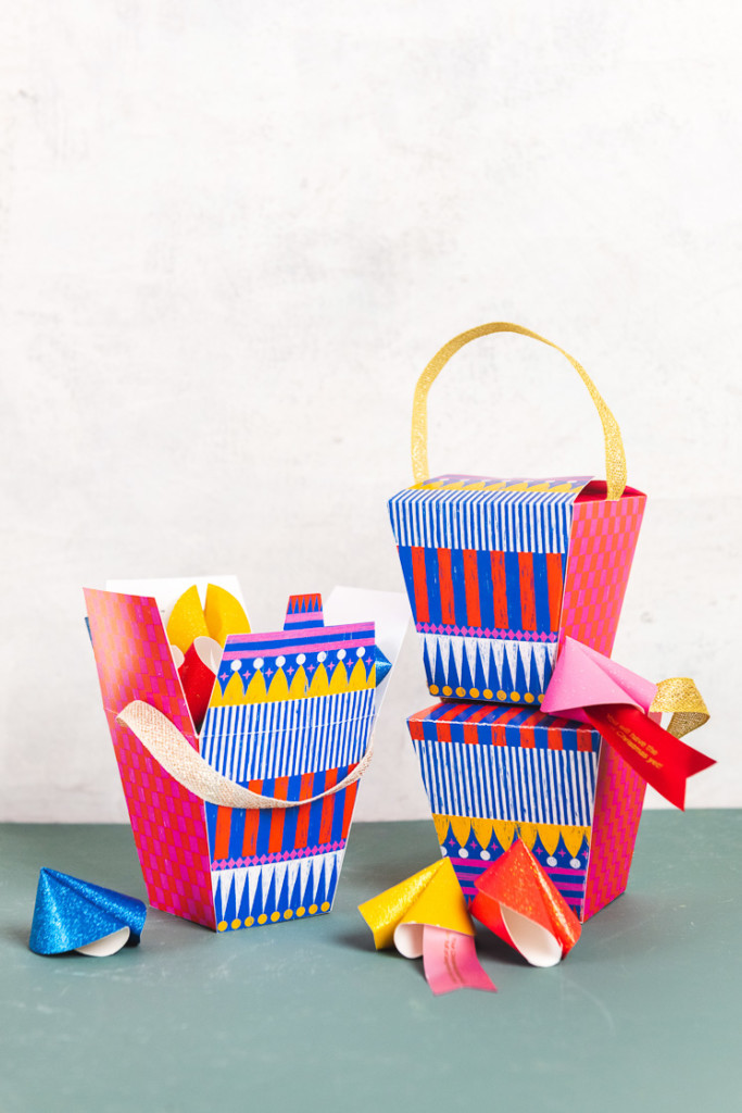 Colorful paper takeout boxes