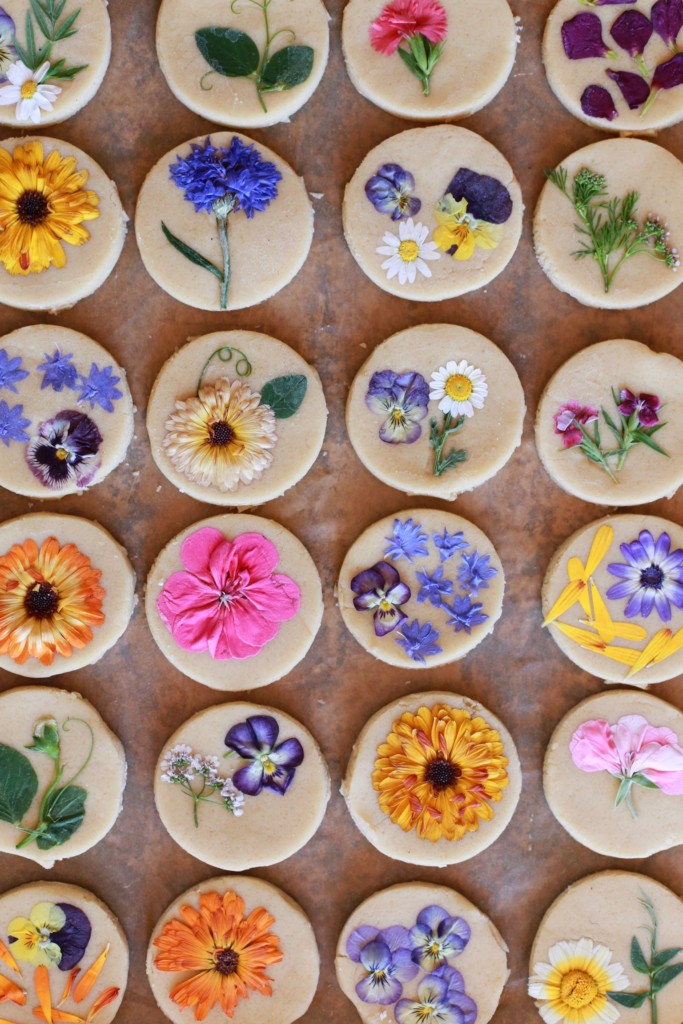Brightly colored flowers pressed onto sugar cookies on a wooden background.