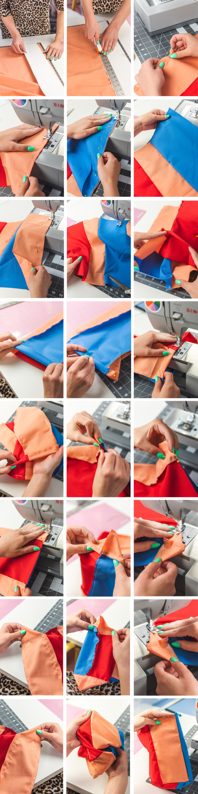 step-by-step instructions showing how to make a reusable fabric lunch sack