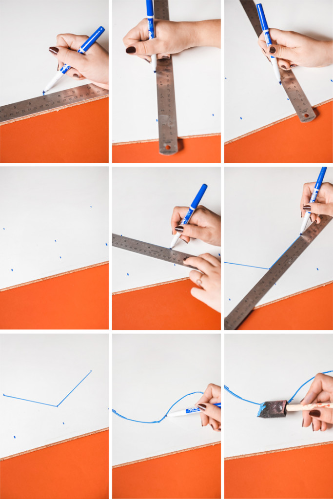 Step by step photos in a grid showing how to make the DIY Whiteboard