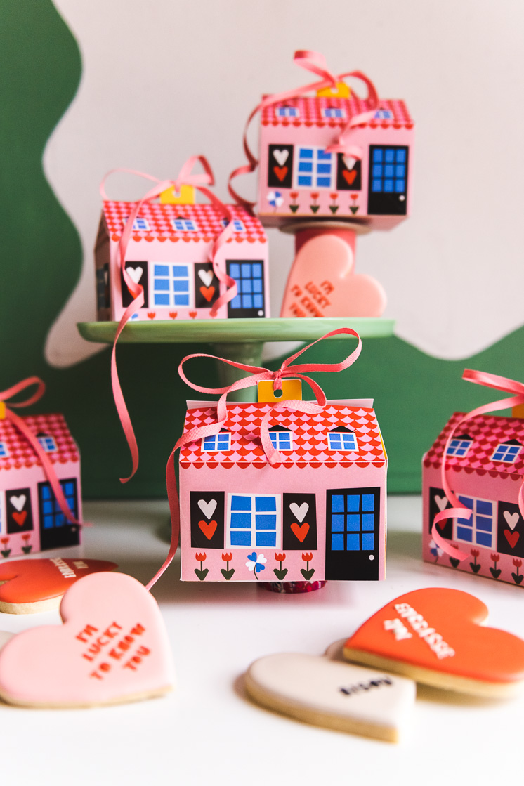 Pink and blue house-shaped cookie boxes next to a green squiggly background and some heart-shaped cookies
