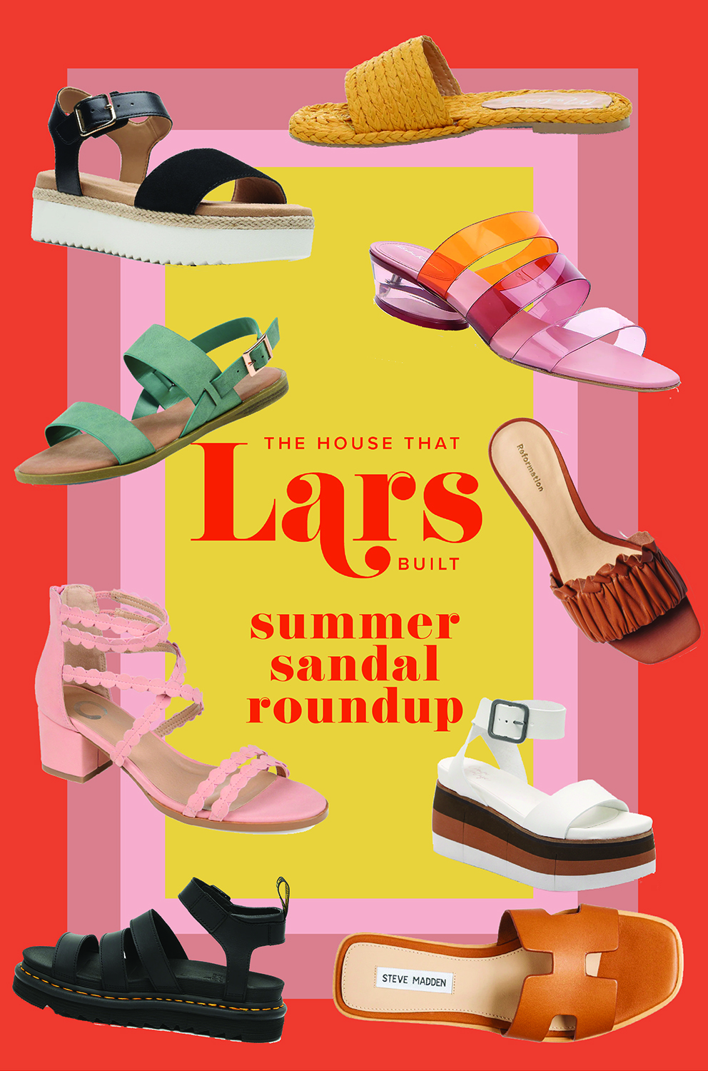 several summery sandals on an orange, pink, and yellow geometric background with the words