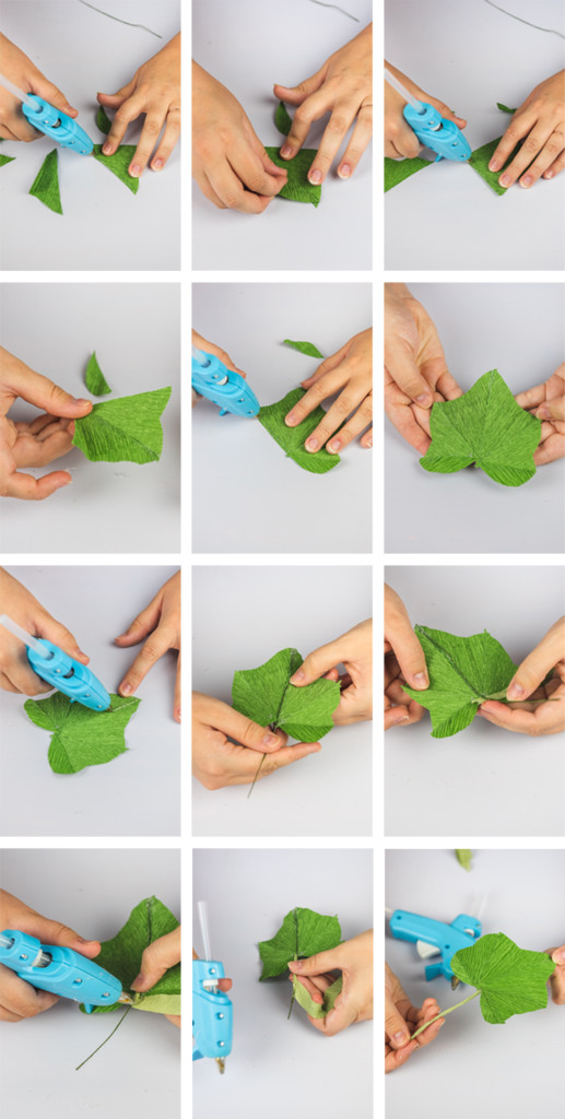 step by step photos showing how to make hollyhock leaves