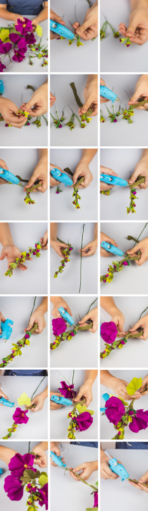 step by step photos showing how to assemble hollyhocks