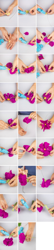 Step by step photos of making a paper hollyhock