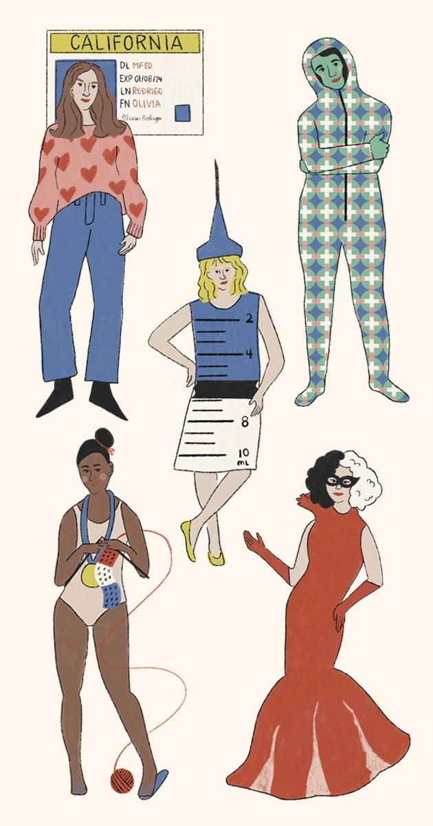 Illustration of halloween costumes, including Olivia Rodrigo's drivers license, Frank Ocean's alien baby, a vaccine syringe, Tom Daley knitting, and Cruella