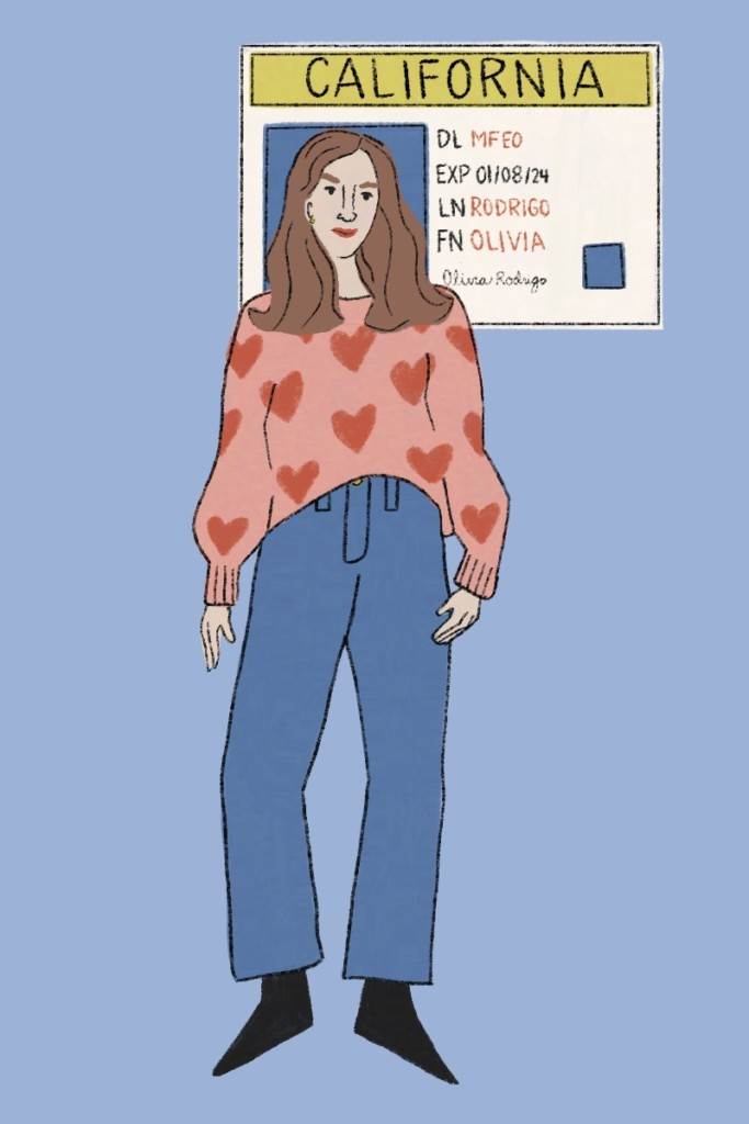 Olivia Rodrigo Drivers License illustration: a woman with a pink and red heart sweater and jeans with a california drivers license cutout around her face