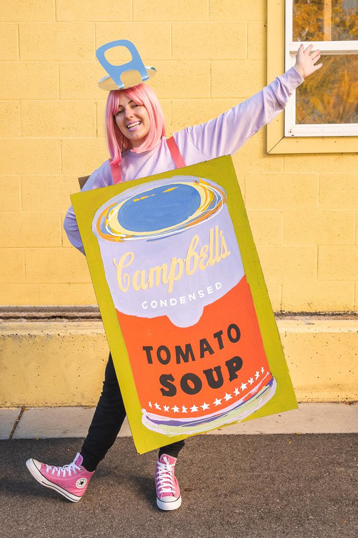 Hailey Heath Halloween costume soup can Andy Warhol